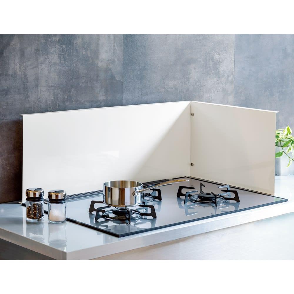 キッチン 家電 キッチン収納 水切り シンク下 コンロまわり収納 ビルトインコンロ用 油はねガード コンロ幅75cm用 542417
