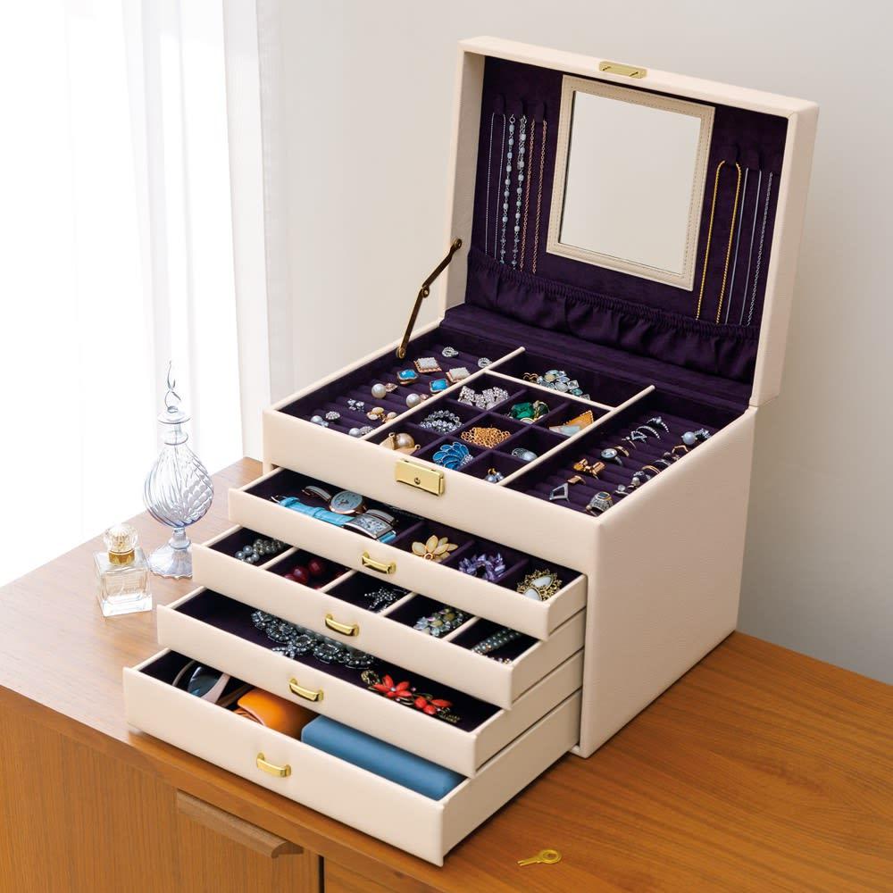 家具 収納 小物収納 収納ボックス ジュエリーボックス アクセサリーケース たっぷり収納 ジュエリーボックス 543401