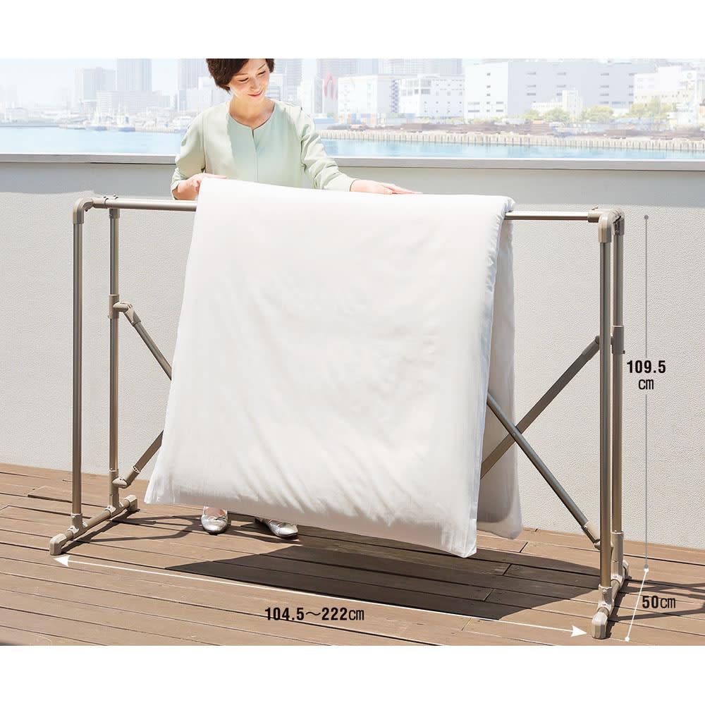 布団もシーツも楽に干せるダブルバー物干し 高さ固定式(竿2本)タイプ 布団干し