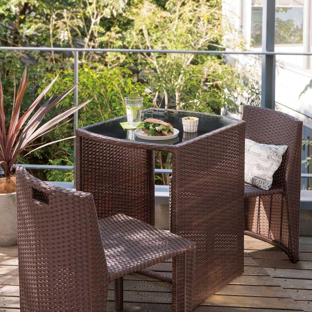 ラタン調コンパクトテーブル 3点セット ガーデンファニチャーセット