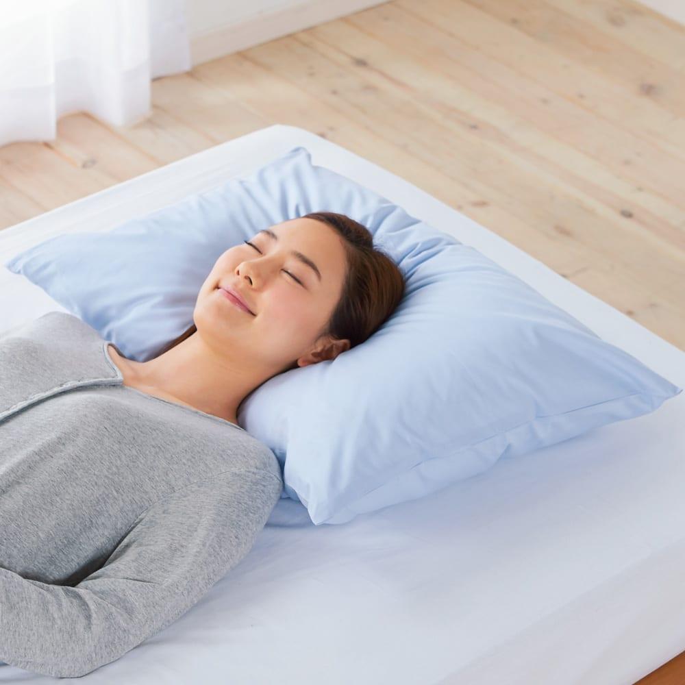 約43×63cm (デンマーク製フォスフレイクス安眠枕と綿100%カバー) アイボリー 【通販】
