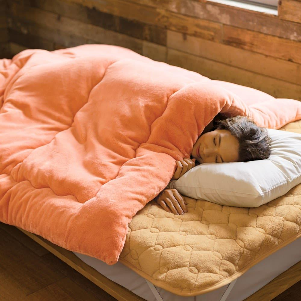 【ディノス限定販売】ヒートループ(R)DX ぬくぬく増量掛け布団 これさえあれば極寒の封も楽勝。(ア)オレンジ ※お届けは掛け布団です。※写真はダブルサイズです。