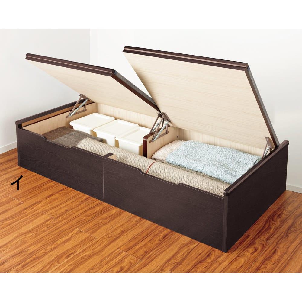 跳ね上げ美草畳収納ベッド ヘッドなし 組立時に開閉の左右が選べ、壁にぴったり付けて設置しても開閉できます。
