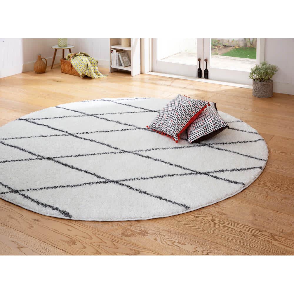 洗える防ダニラグ〈ロンボス〉 円形・オーバル (ア)グレー系(写真は円形 径約90cm)