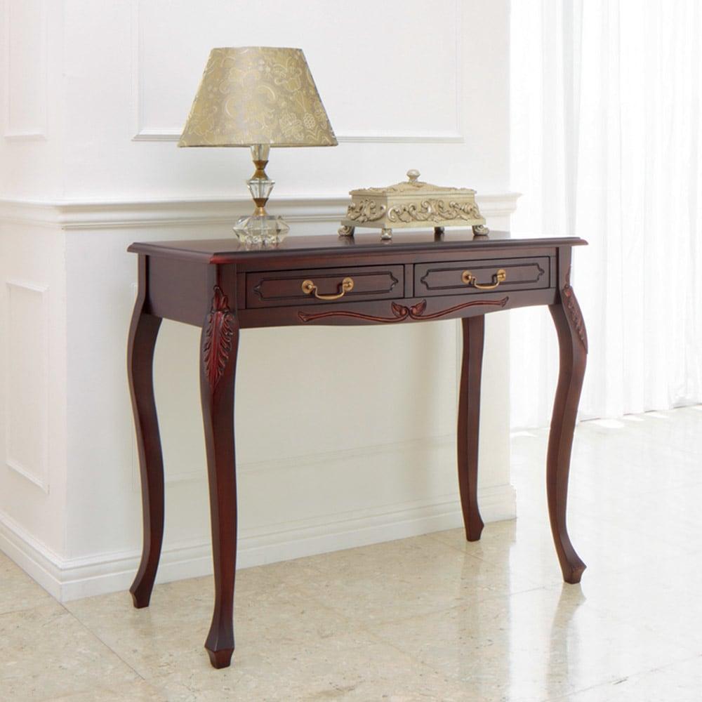 アンティーク調クラシック家具シリーズ コンソールデスク ホワイト/ダークブラウン コンソールテーブル