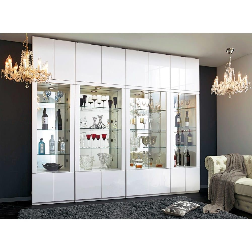 美しく飾れる 光沢仕上げ収納システム ガラス扉コレクションケース 幅80cm (ア)ホワイト≪組合せ例≫