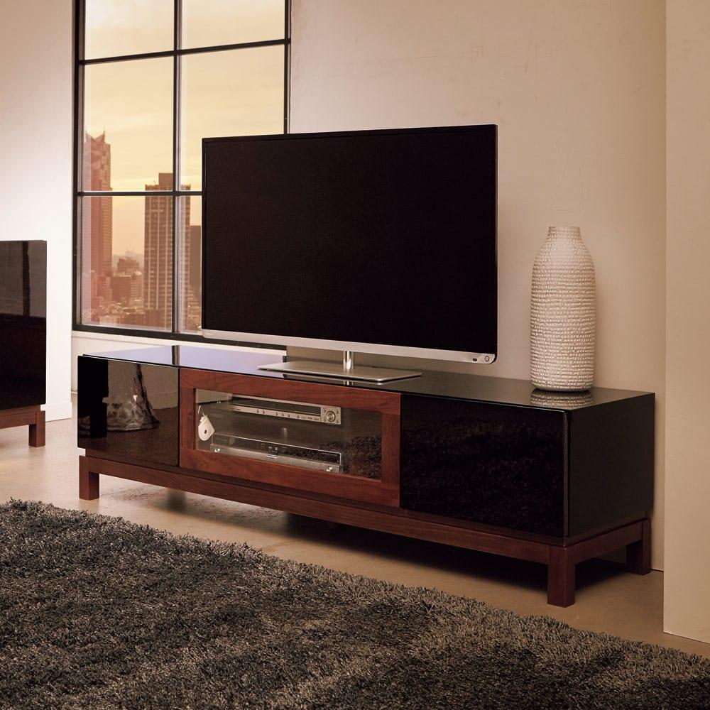 光沢が美しい 北欧風ナチュラルモダン リビング収納シリーズ テレビ台 幅150cm モダンなお部屋に美しく溶け込むシンプルなデザイン(イ)ブラック