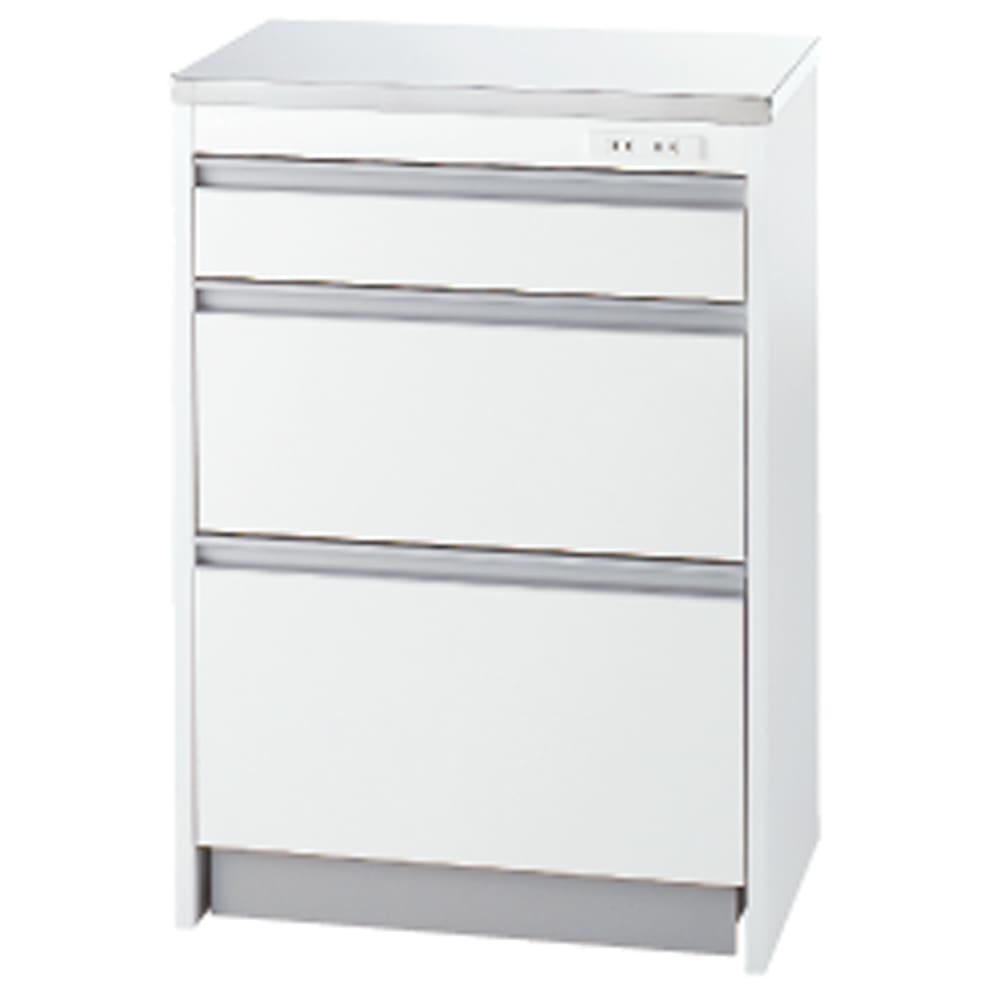収納物を考えたキッチンカウンター ロータイプ(高さ85cm) 幅59.5cm 耐久性に優れたステンレス天板。 便利な2口コンセント付き  ※天板耐荷重約25kg