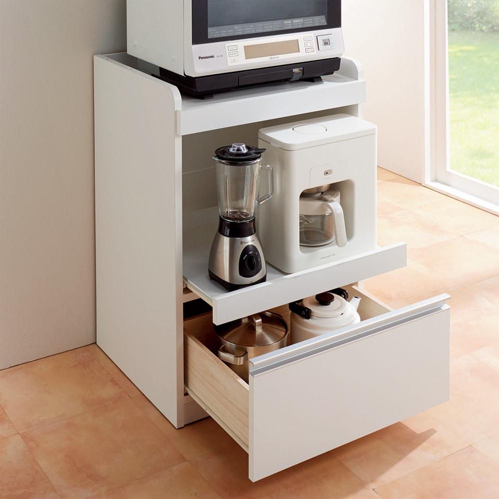 大型レンジが置ける家電収納庫 レンジキッチンカウンター・幅60cm 使用イメージ
