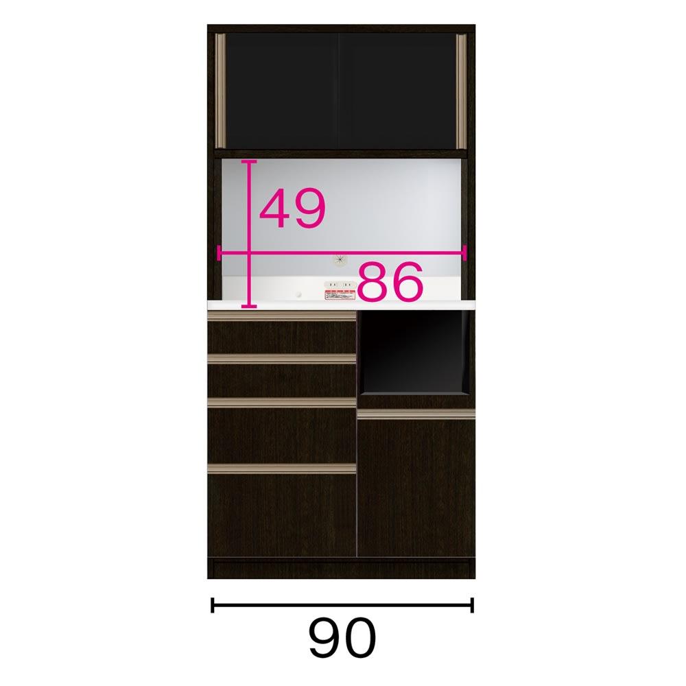 家具 収納 キッチン収納 食器棚 レンジ台 レンジラック キッチンラック キッチンボード 幅90奥行51高さ186cm(高機能 モダンシックキッチンシリーズ) 549617