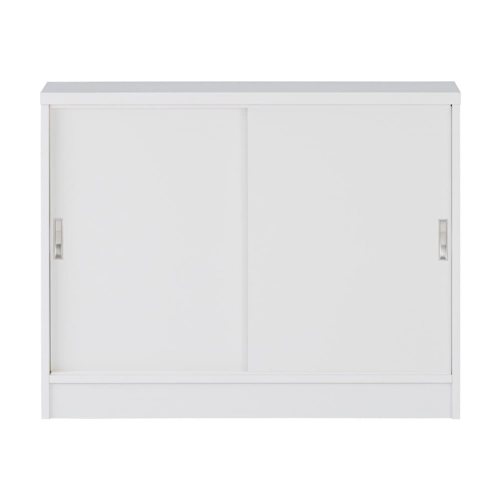 1cmピッチで棚板調整カウンター下引き戸収納庫 幅90cm(2枚扉) 奥行30cm・高さ70cm (ウ)ホワイト