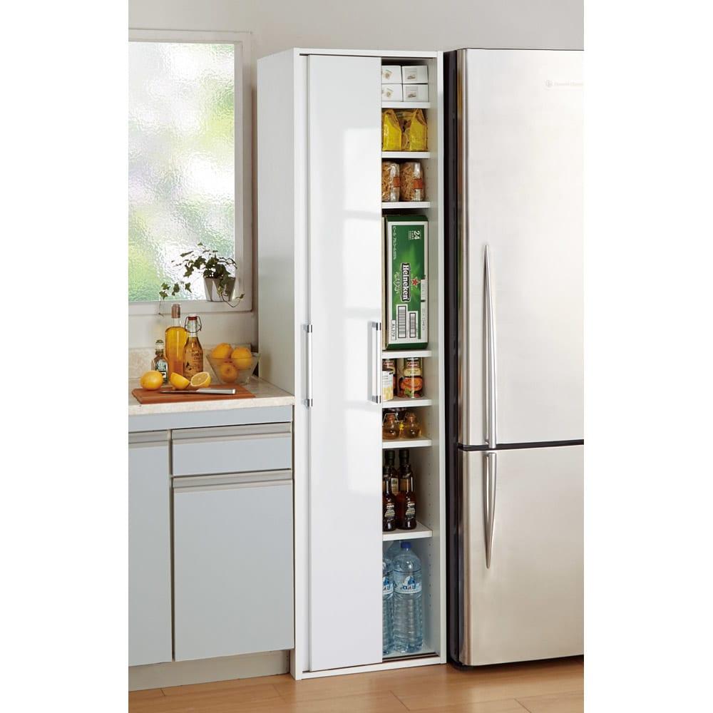 頑丈引き戸キッチンストッカー 幅46cm ホワイト/ブラウン(モクメ) キッチン隙間収納