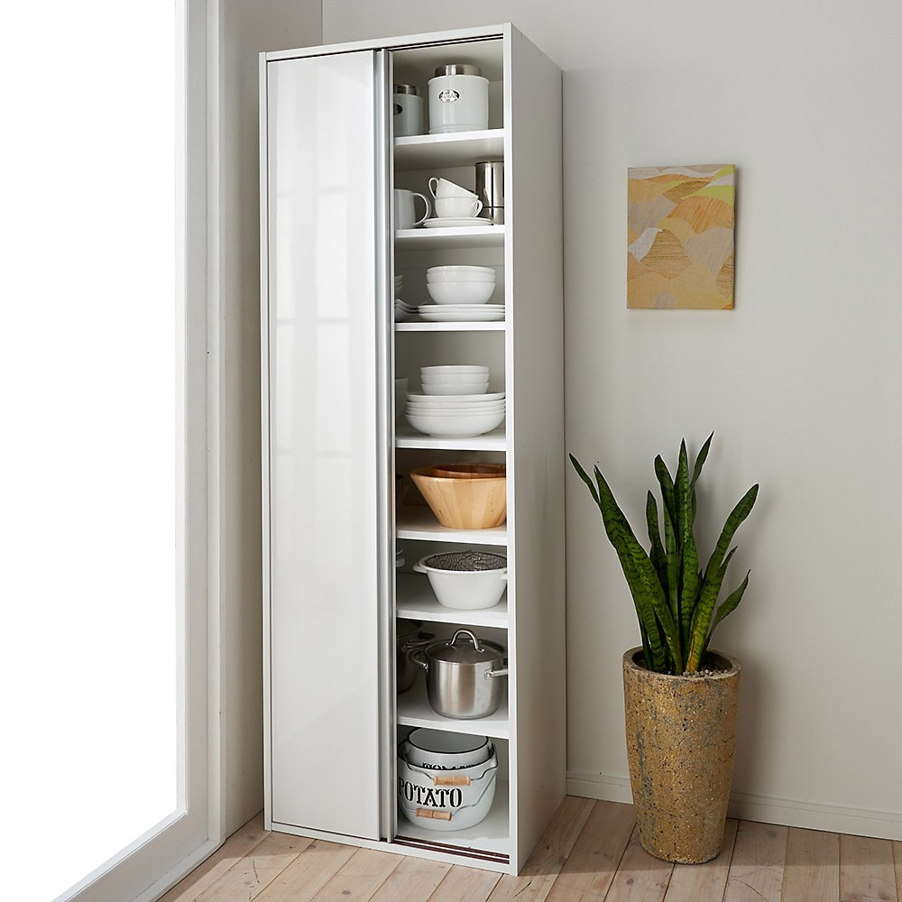 頑丈引き戸キッチンストッカー 幅61cm ホワイト/ブラウン(モクメ) キッチンストッカー・食品ストッカー