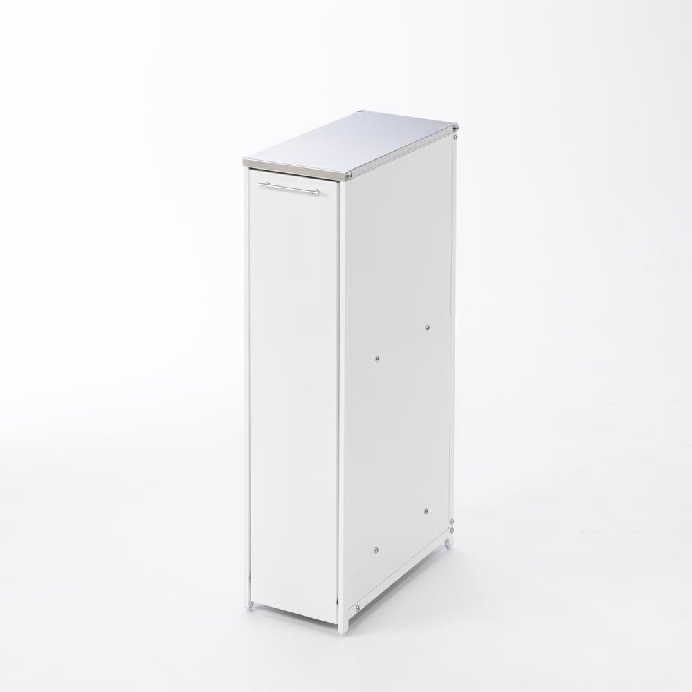 分別できるペール付きすき間ダスト収納 ロータイプ高さ85cm・2分別 幅22cm 幅22cmのスリムなダストボックス。天板上は調理の補助台などにも利用できます。