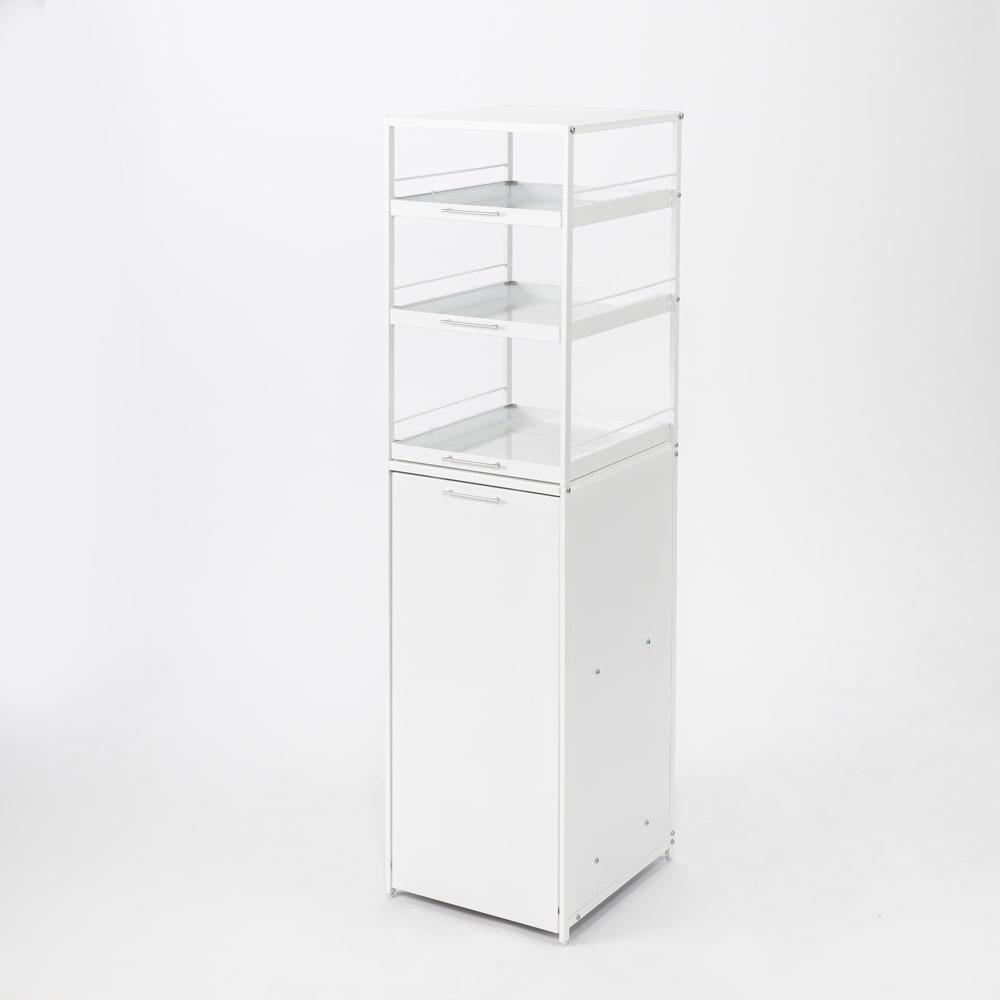 分別できるペール付きすき間ダスト収納 ハイタイプ高さ150cm・4分別 幅40cm ホワイト 分別ゴミ箱