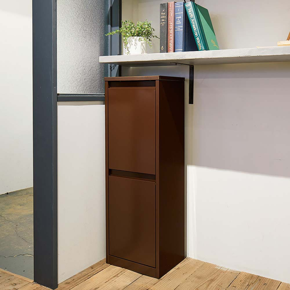 カラフルなペールでわかりやすく分別できる スチール製ダストボックス 幅32cm 高さ95cm (イ)ブラウン シックなブラウン。カウンター下にもすっぽり納まるコンパクトサイズ。