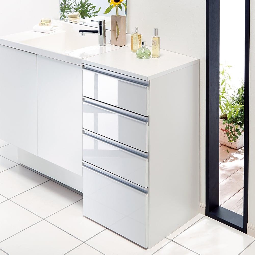 家具 収納 トイレ収納 洗面所収納 組立不要 収納物に優しい サニタリーすき間チェスト 幅45cm 551329
