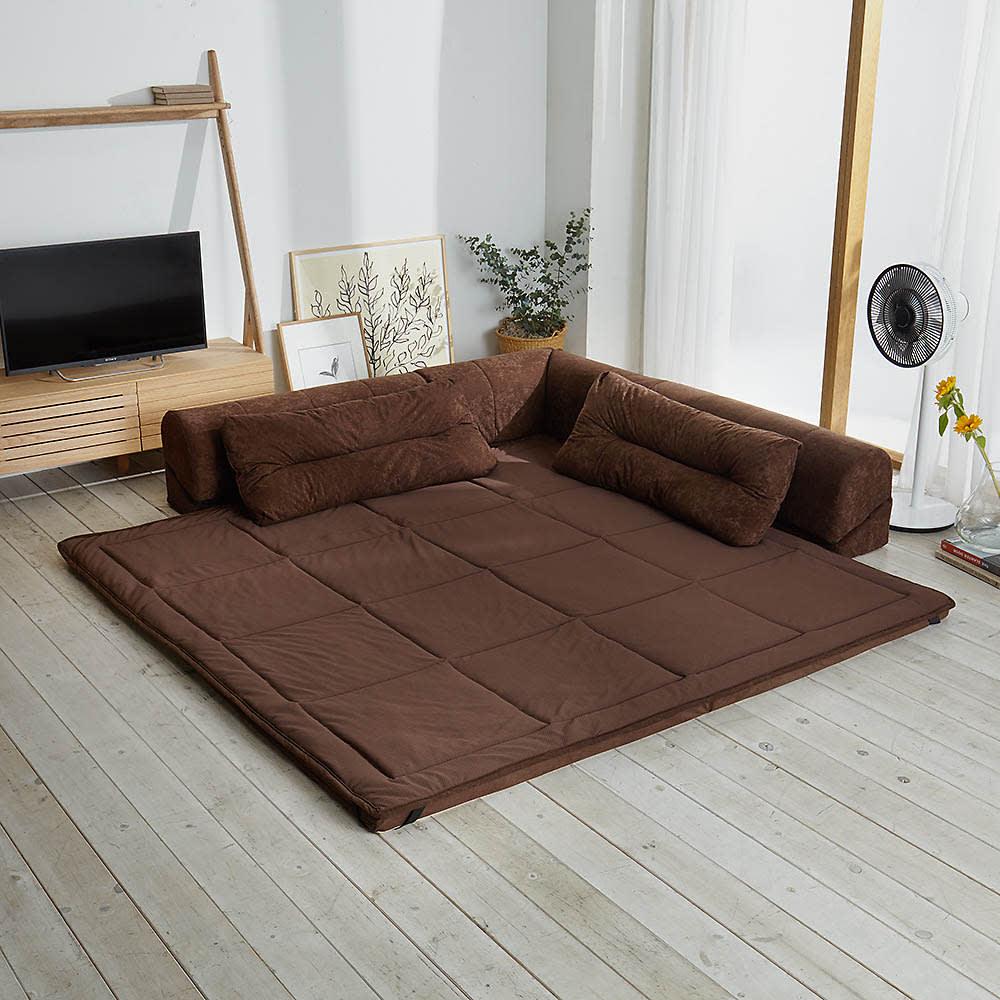 包まれる幸せのごろ寝ソファ 夏用サラサラ替えパッド 大ソファ用 使用イメージ(イ)ダークブラウン ※お届けは替えパッドのみです。