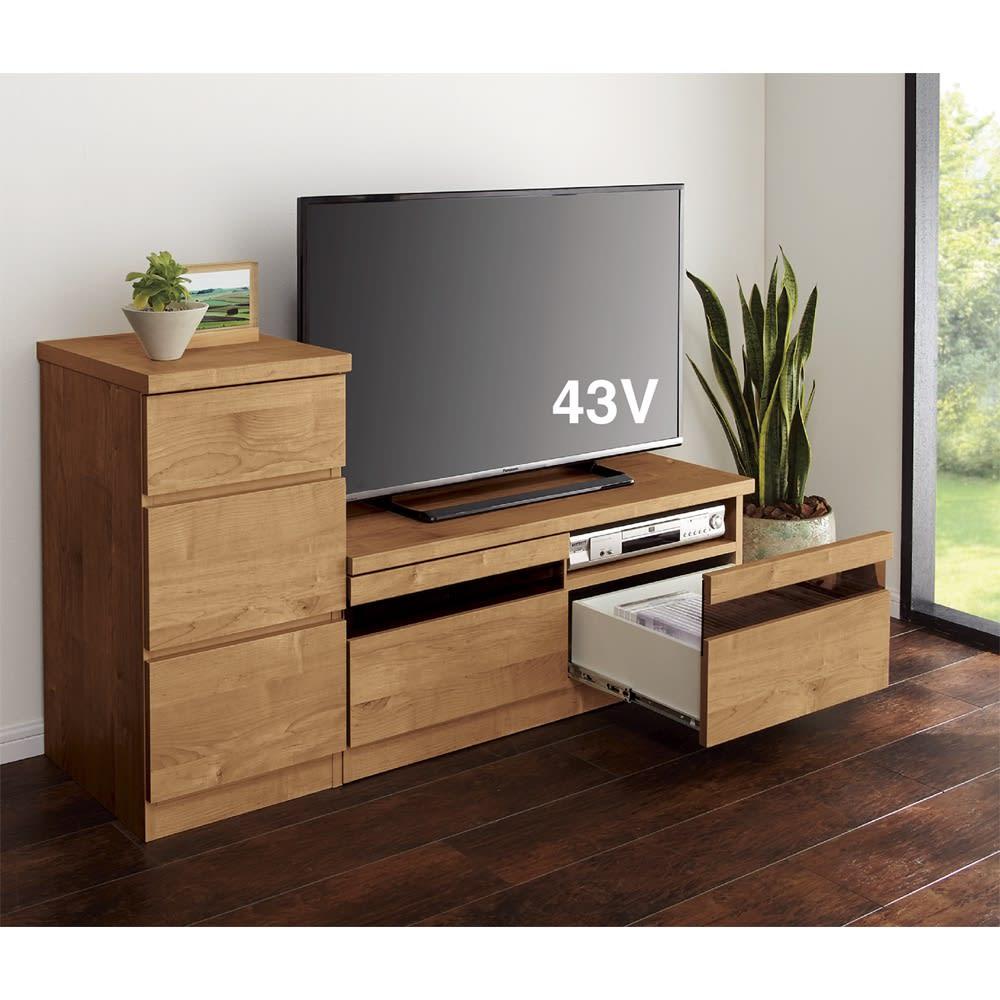 天然木調テレビ台シリーズ ロータイプテレビ台 幅120.5高さ40.5cm 使用イメージ ※写真のテレビ台はロータイプ幅100.5cmです。お届けはロータイプ幅120.5cmです。