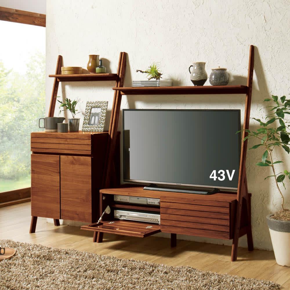 天然木シェルフテレビ台シリーズ テレビ台 幅110cm オーク/ウォルナット テレビ台・テレビボード