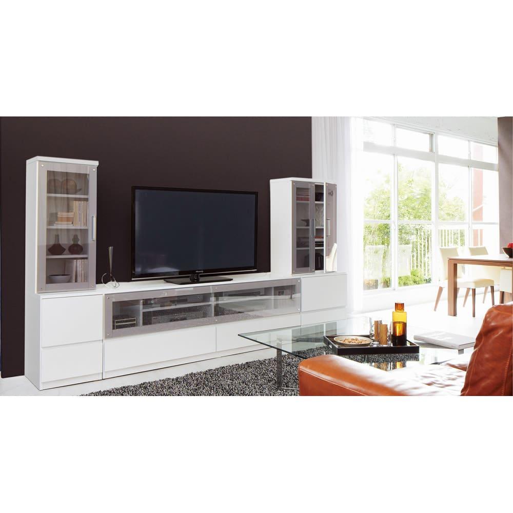 ソファや椅子からも見やすいテレビ台シリーズ キャビネット幅40cm(左右兼用) (ア)ホワイト ※写真はキャビネット幅40、テレビ台幅180、キャビネット幅60です。