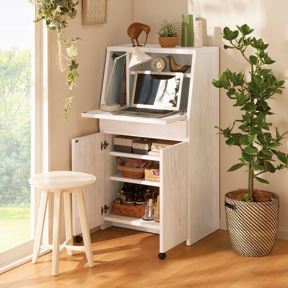 家具 収納 ホームオフィス家具 パソコンキャビネット 北欧風のライティング収納デスク 幅60.5cm 552817