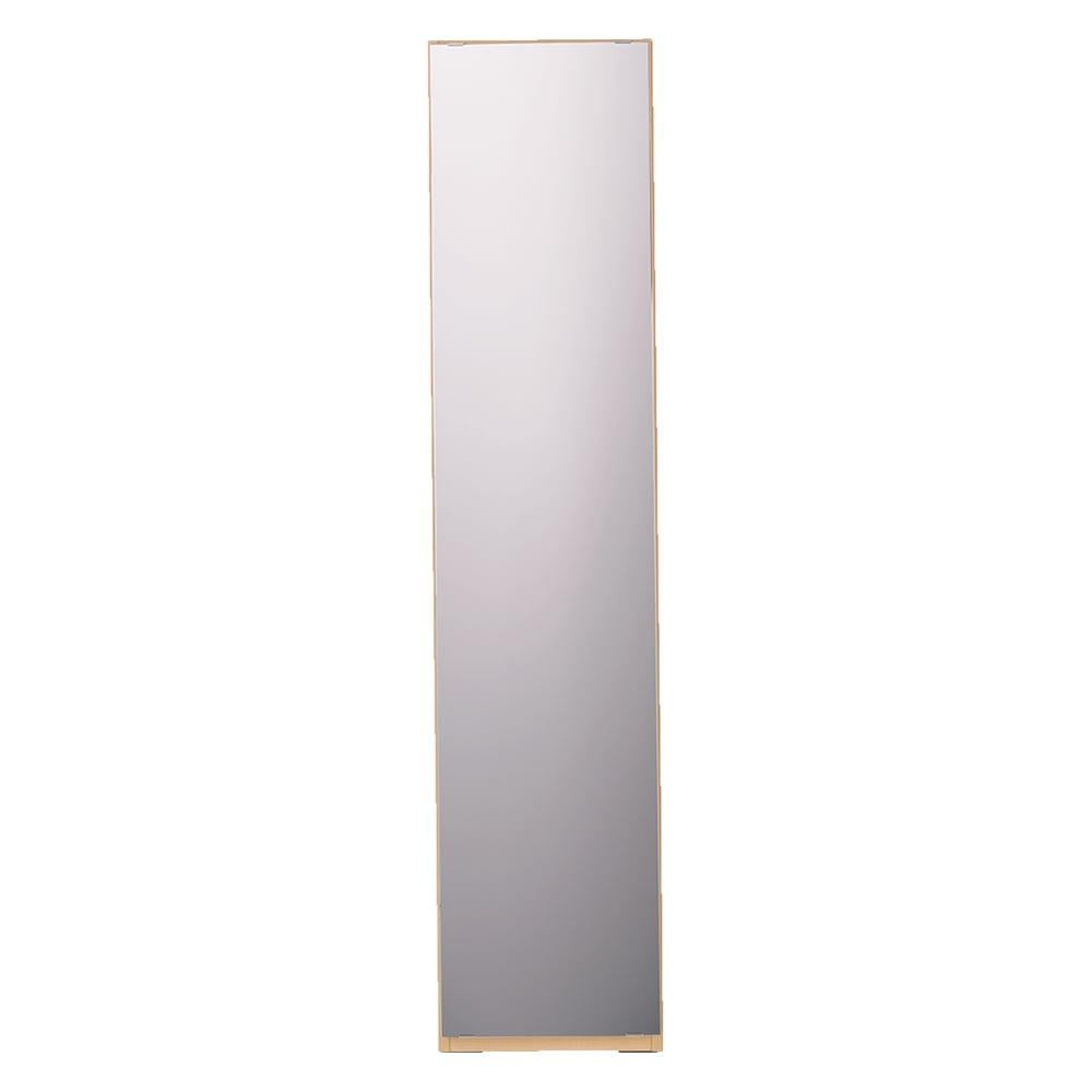 奥行44cm 生活感を隠すリビング壁面収納シリーズ 収納庫 ミラー扉タイプ 幅40cm (イ)ナチュラル