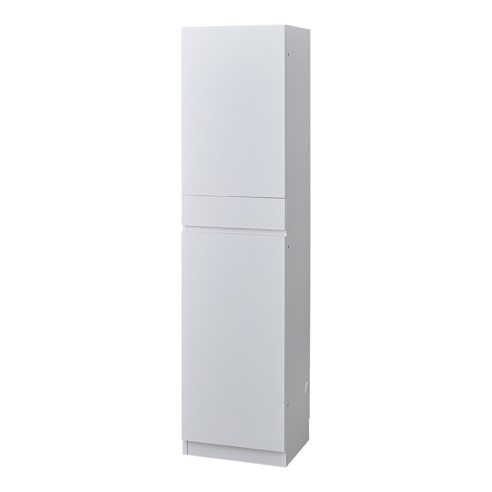 スイッチ避け壁面収納シリーズ 収納庫タイプ(上台扉付き・下台扉・背板あり)幅45cm奥行30cm (ア)ホワイト ※こちらは収納庫タイプ(上部背板あり)です。
