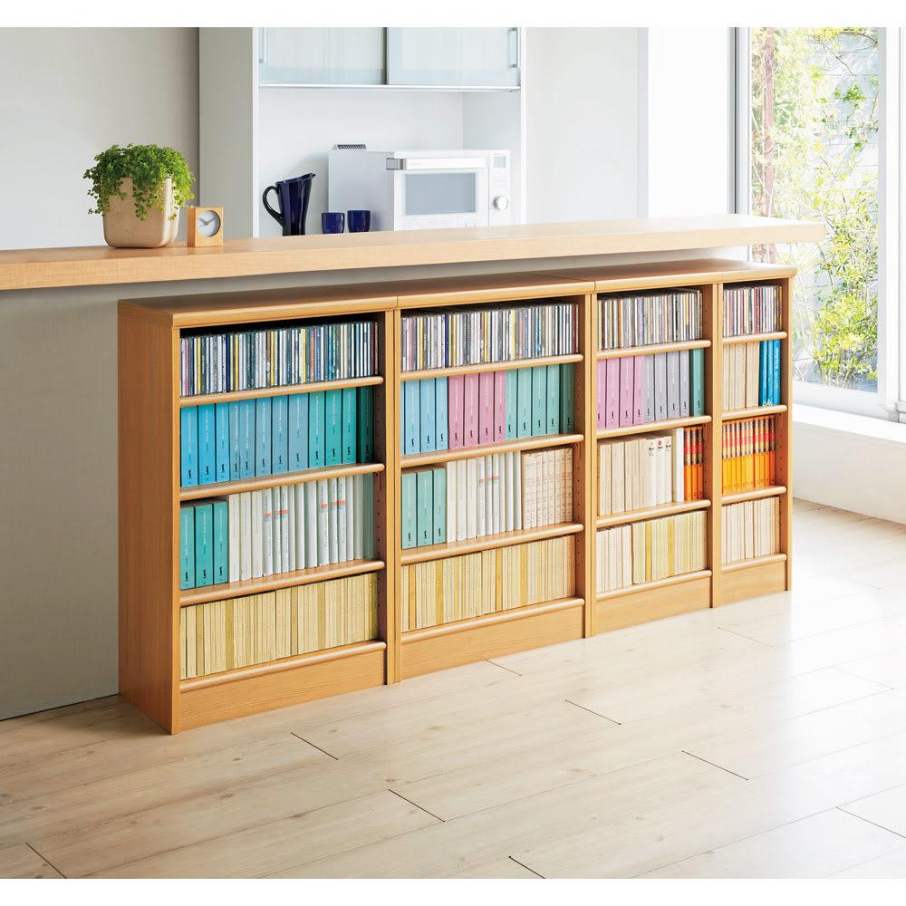 色とサイズが選べるオープン本棚 幅86.5cm高さ88.5cm コーディネート例(オ)ナチュラル ※お届けする商品とはサイズが異なります。