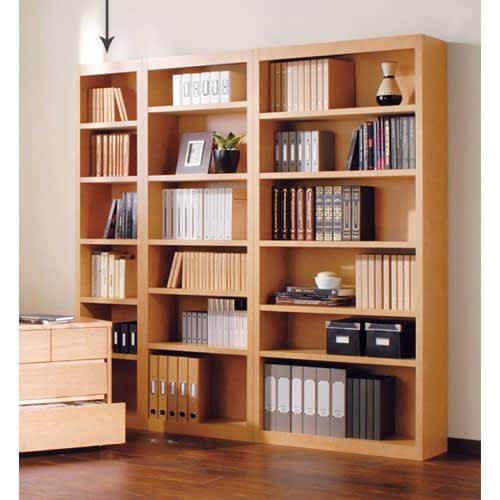 頑丈棚板がっちり書棚(頑丈本棚) ハイタイプ 幅40cm (ア)ライトブラウン 写真は、ハイタイプ幅40cm、60cm、80cmの組み合わせ例です。