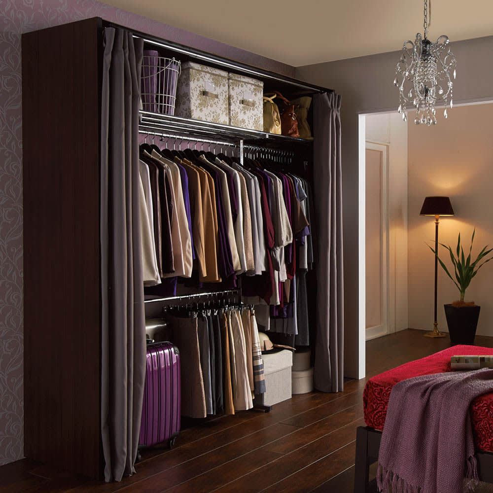 カーテン付き アーバンスタイルクローゼットハンガー 引き出しなし・幅145~250cm対応 クローゼットに収まりきらない衣類の収納にぴったりな大量収納ハンガーラック。落ち着いた雰囲気のお部屋にマッチします。