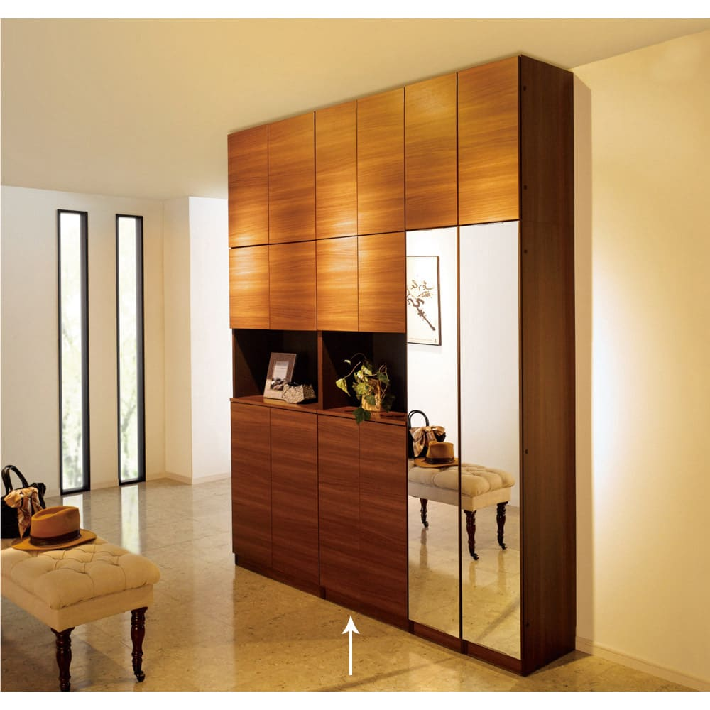 インテリアに合わせて8色&13タイプから選べるシューズボックス オープン 幅60高さ180.5cm ※写真の天井高さ248cm