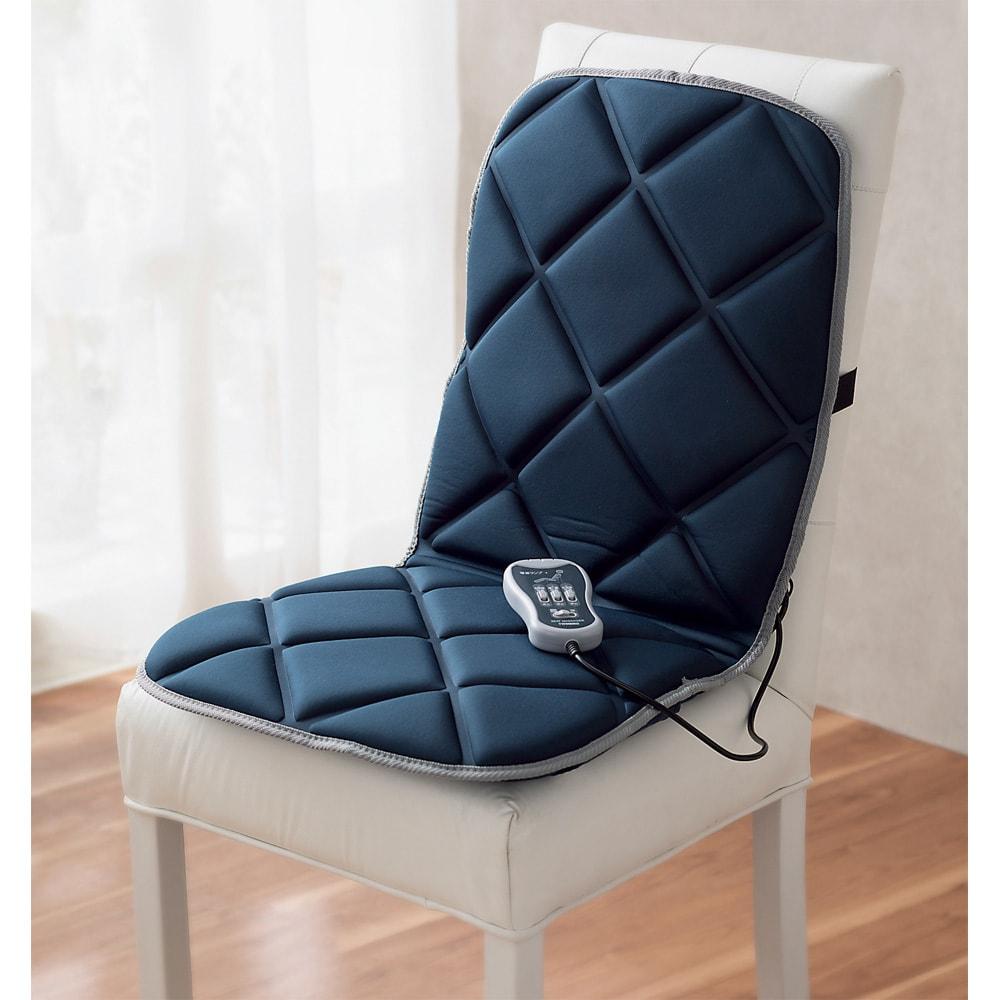 シートマッサージャー 椅子の背に固定できるバンド付き。