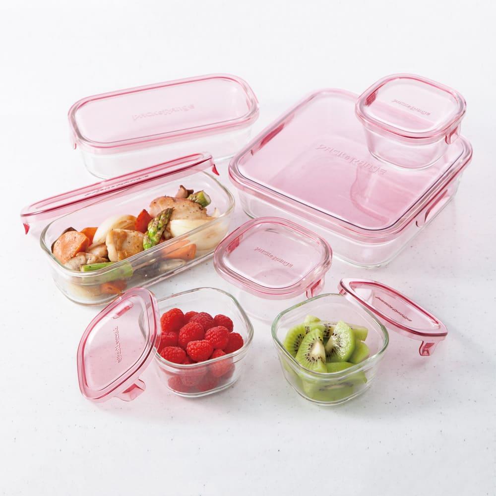イワキ 耐熱ガラスパック&レンジシステム 7点セット (ア)ピンク オーブン・レンジ加熱、冷凍保存も可能。