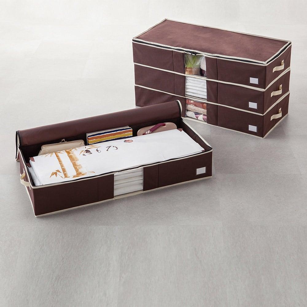 炭入り消臭着物一式収納ケース 4個組 消臭効果のある炭入り。 入れた物を表示しておけるカードポケット付き。