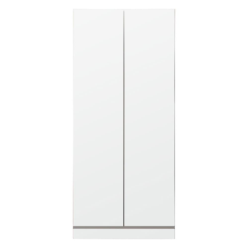 壁面間仕切りワードローブ ハンガーラック2段・幅80cm (イ)ホワイト