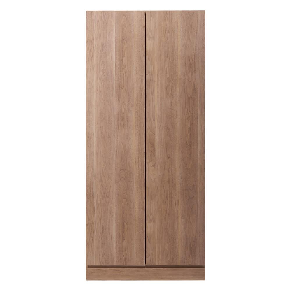 壁面間仕切りワードローブ ハンガーラック2段・幅80cm (オ)オリジナルウォルナット