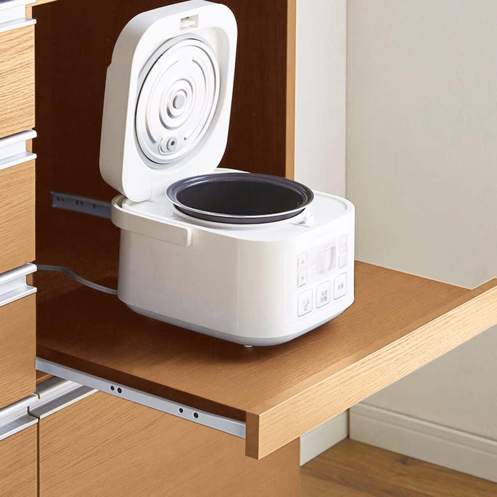 簡単に幅調節可能!スライド伸長式カウンター幅91~126cm 家電タイプ 27cm引き出せるスライドテーブルは耐荷重約8kg。