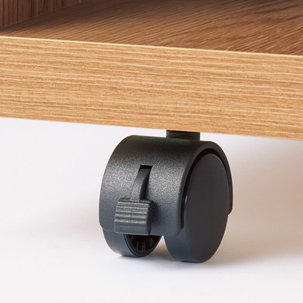 簡単に幅調節可能!スライド伸長式カウンター幅119~182cm 家電タイプ キャスターはストッパー付きで安心です。