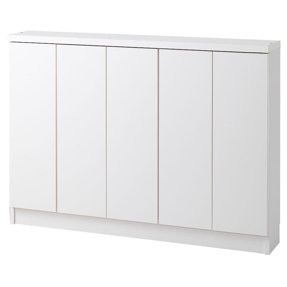 シンプルカウンター下収納庫(奥行22高さ97cm) 5枚扉タイプ 幅121.5cm (ア)ホワイト ※写真は高さ87cmタイプです。突っ張り金具取り外し時。