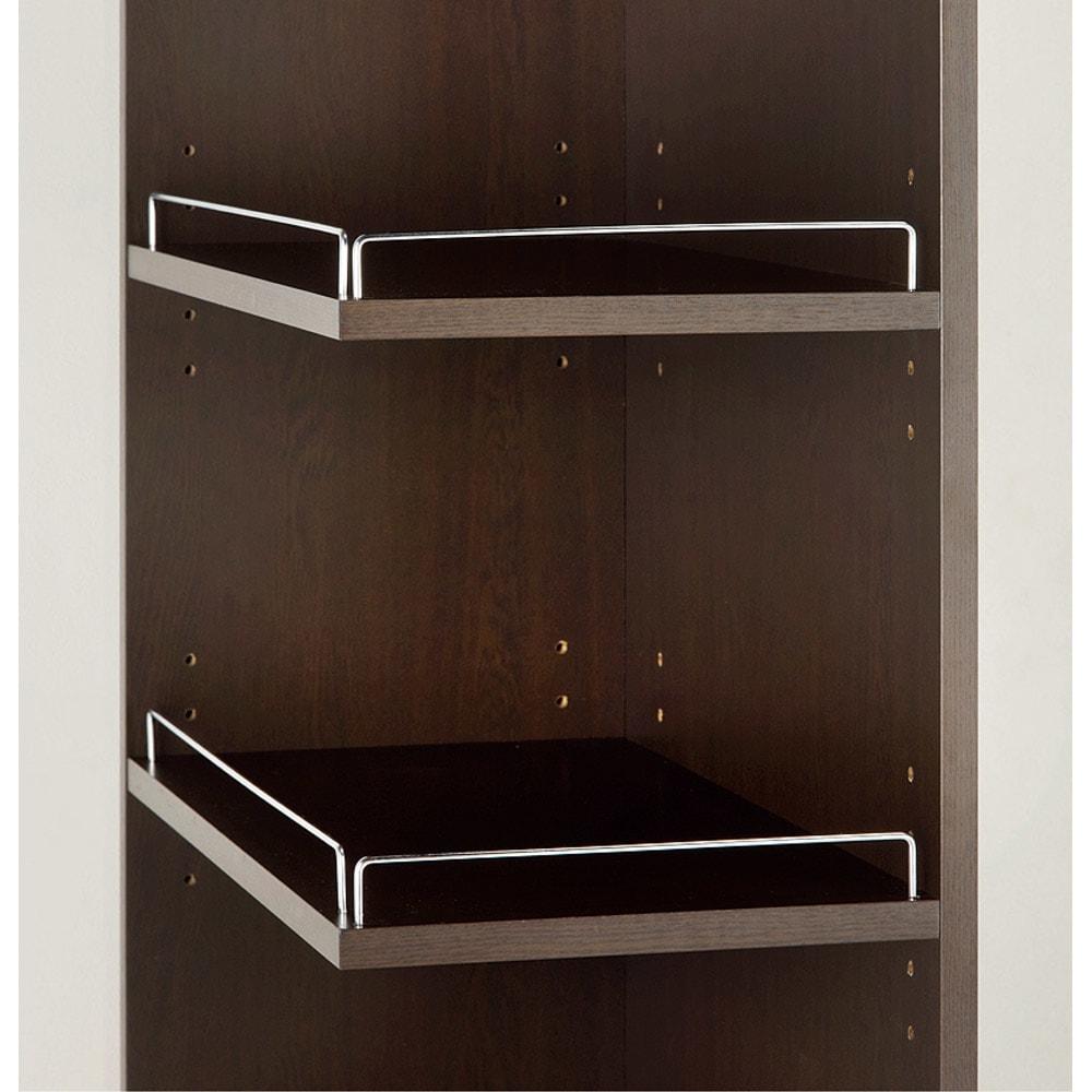 取り出しやすい2面オープンすき間収納庫 奥行44.5cm・幅25cm 前からも横からも取り出せます。 ◎オープン部の向きは左右どちらにでも設定できます。 ◎棚板は3cm間隔で可動します。