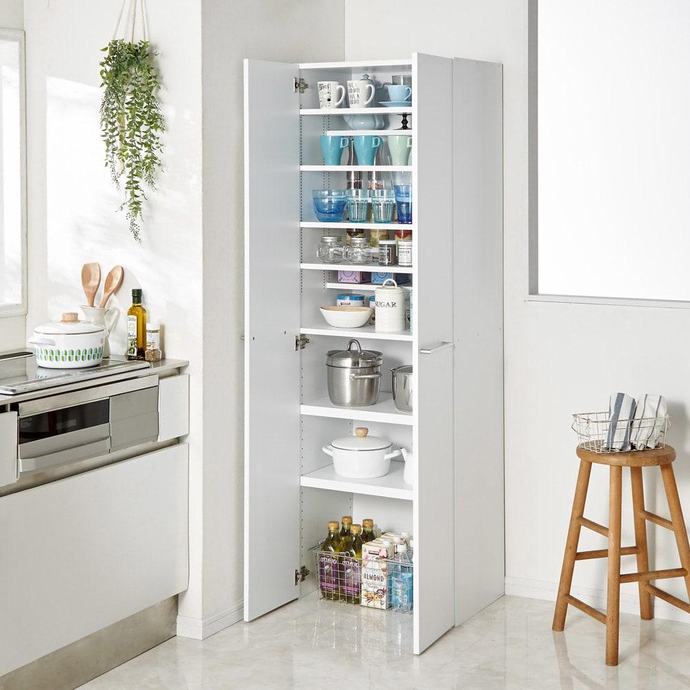 食器からストックまで入る!大容量キッチンパントリー収納庫 幅60奥行40cm (イ)ホワイト 食器から鍋・ストックものまでひとまとめに収納!