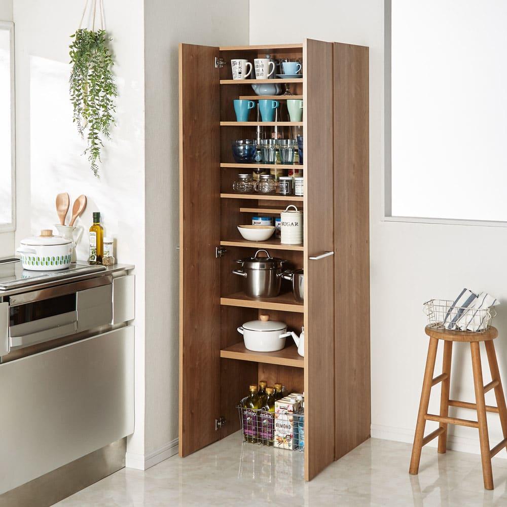 食器からストックまで入る!大容量キッチンパントリー収納庫 幅60奥行40cm (ア)ブラウン