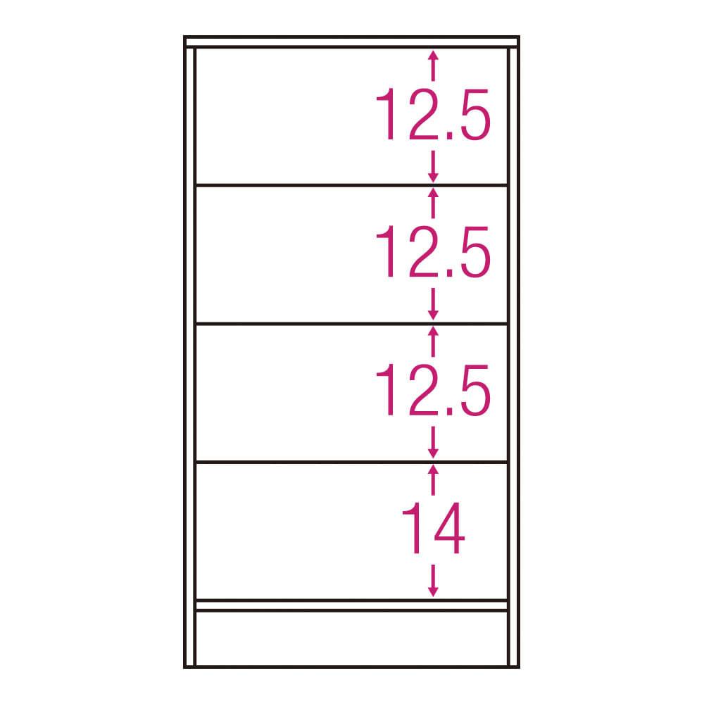 スクエア木目カウンター下収納 引き出し 幅25~45cm(1cm単位オーダー)奥行34cm 内寸図(単位:cm)