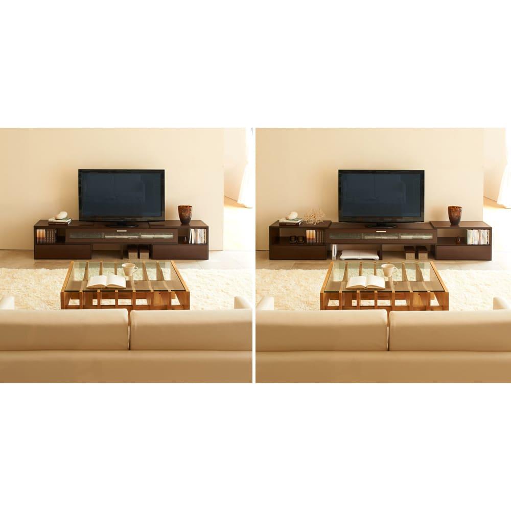 すっきり、ぴったりが心地よい伸縮式テレビ台スイングローボード 扉付き幅148.5~283cm レイアウトや収納するものによって伸長は自由。スピーカー、デッキ、書籍雑誌、雑貨など設置するものに合わせて自在にスライドできます。