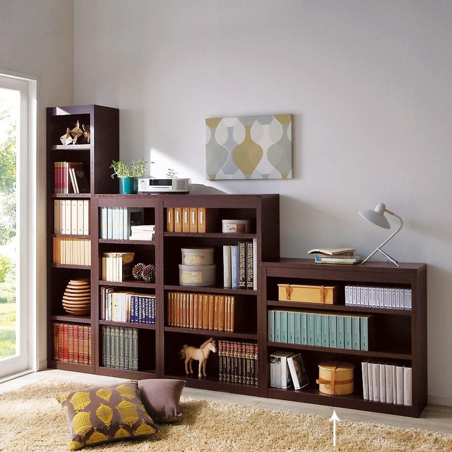 頑丈棚板がっちり書棚(頑丈本棚) ロータイプ 幅90cm コーディネート例(イ)ダークブラウン ※お届けは幅90高さ80cmです。
