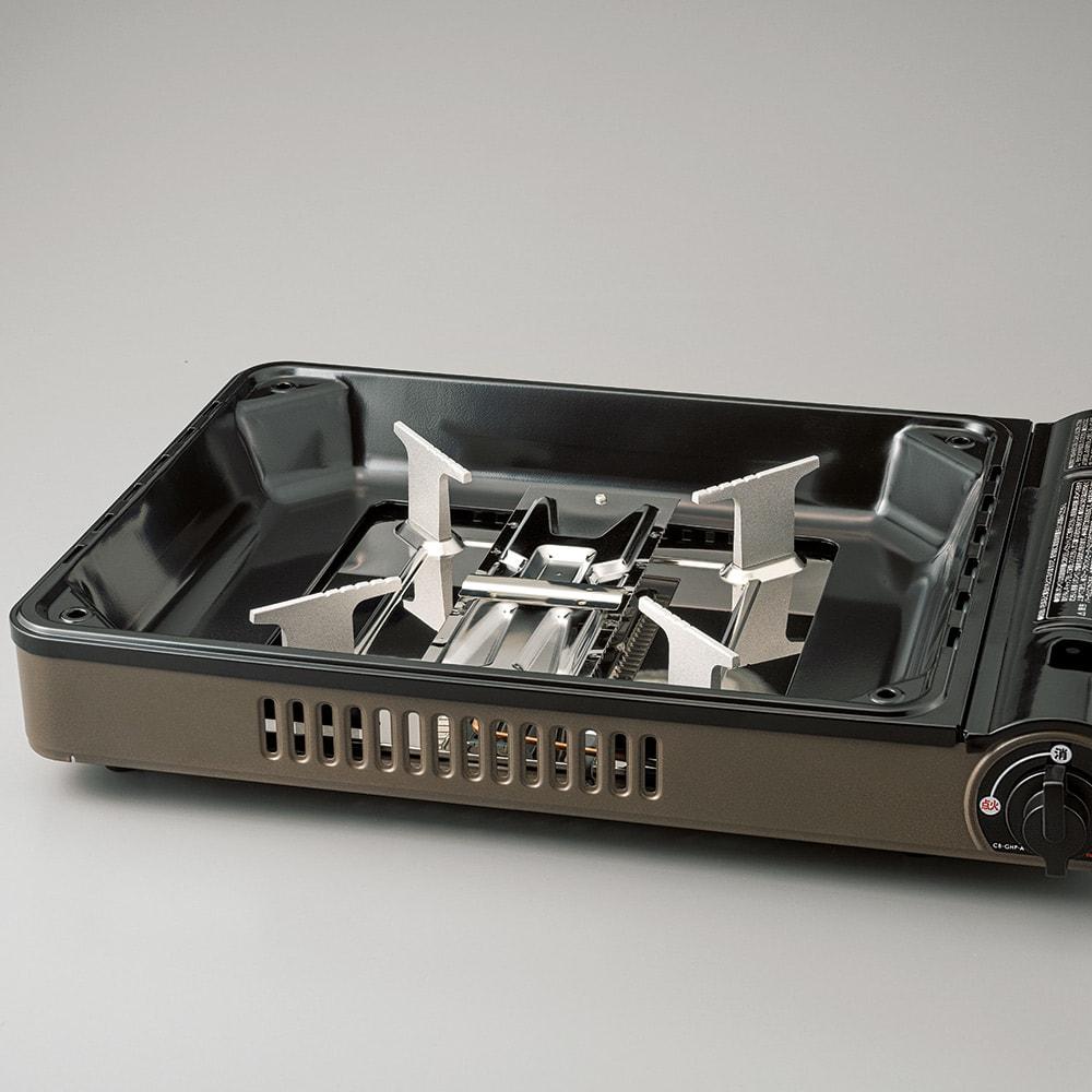 イワタニ カセットガスホットプレート焼き上手さん α(アルファ) プレートを外すと五徳が登場。通常のカセットコンロとしても使えます!