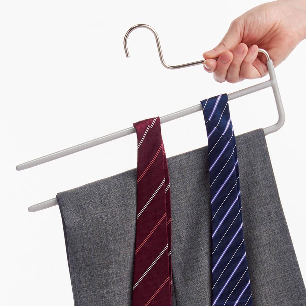 MAWA(マワ)ハンガー コンチハンガー 5本組 (ウ)シルバー ネクタイやスカーフ掛け、スラックスの収納に。横からスッと出し入れできて便利。