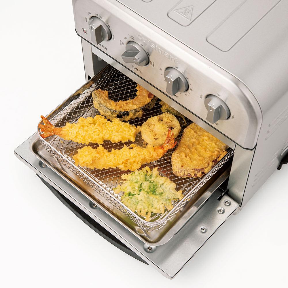 クイジナート エアフライオーブン トースター アイボリー限定カラー 単品 買ってきたテンプラもさくっとよみがえります!写真はシルバーカラー。