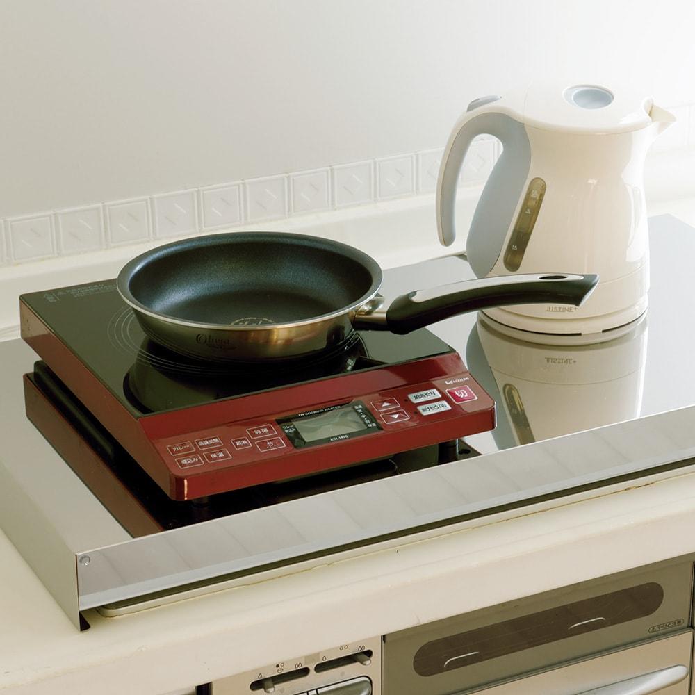油はねガードにもなるコンロカバー コンロ幅60cm用 ガスコンロは使わない、という方は上にIHヒーターや家電を置いて使うのもアイデア。